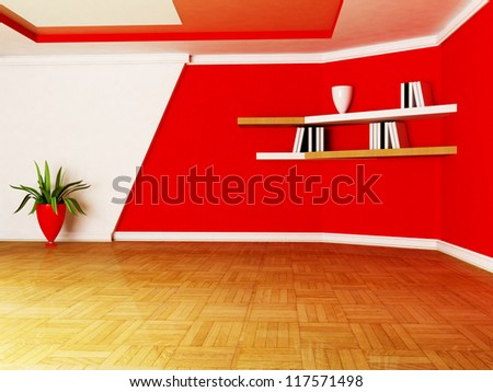 a room in white and red colors, rendering - stock photo