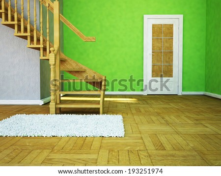 a room with a door and a ladder - stock photo
