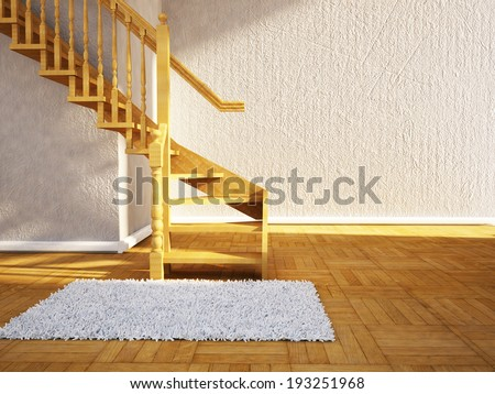 a room with a wooden ladder - stock photo