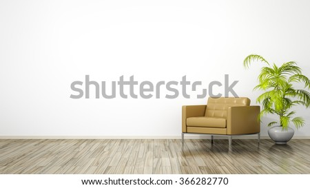 A room with an armchair and space for your content - stock photo