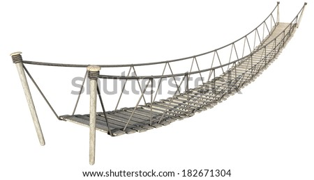 A rope bridge made of wooden planks held together by rope and secured by wooden pegs on an isolated white background - stock photo