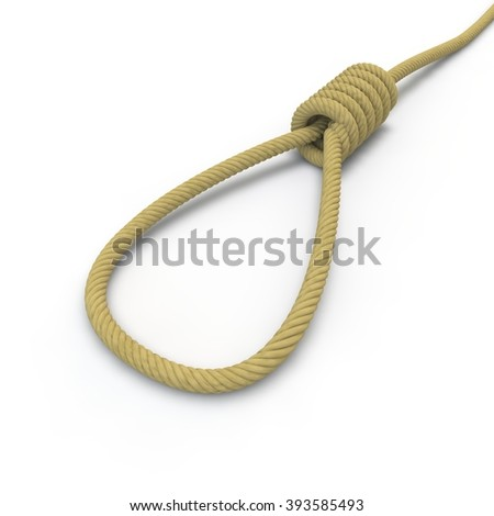 A rope with a noose lying on the floor on an isolated white background