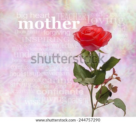 A Rose for Mother - intricate lacy background with a single red rose on right hand side, with the word 'mother' adjacent to the rose head with a relevant word cloud beneath - stock photo