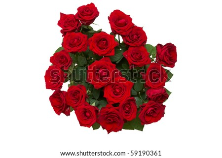 a roses in vase isolated on white
