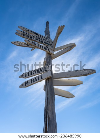 A rossete of wooden direction signs in Rubyvale Qld, Australia. - stock photo