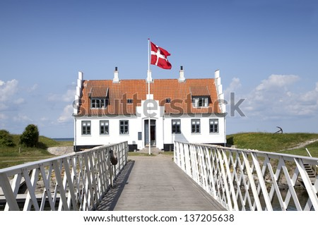 A rotating bridge leads over Frederik VII's channel Limfjordsmuseet - stock photo