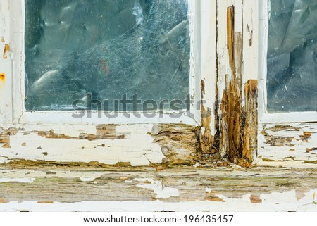 A rotten window frame