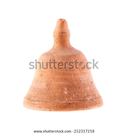 a rough clay bell isolated over a white background - stock photo