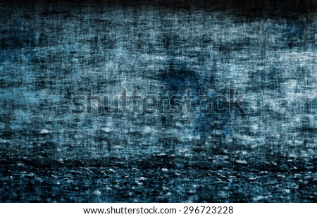 A rough, grungy abstract of a concrete wall and floor in blue and black as a background - stock photo