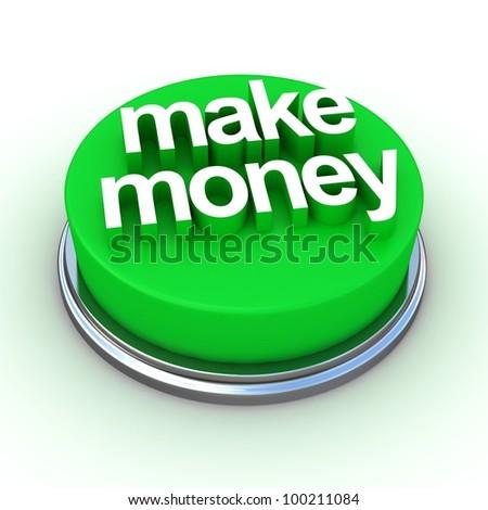 A round, green button on a white background reading Make Money - stock photo