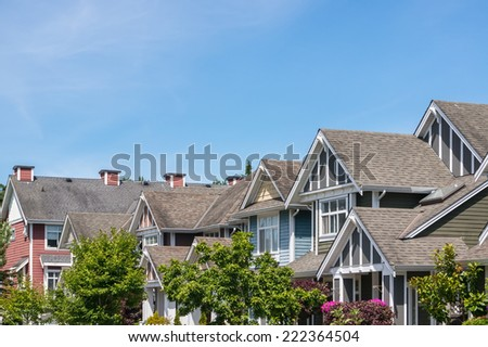 A row of a new houses in North America. - stock photo