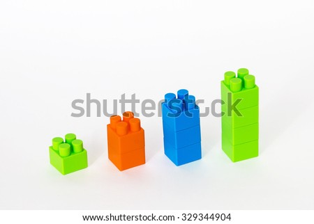 A row of blocks, forming a graph blue, orange and green - stock photo