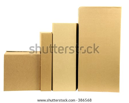 A row of closed boxes with workpath - stock photo