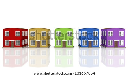 A row of colored small houses on a white background - stock photo