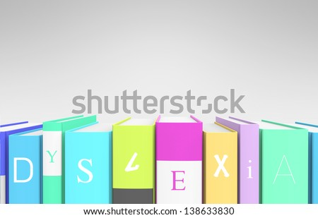 "A row of colorful books that spells out ""dyslexia"" as a metaphor of the condition."