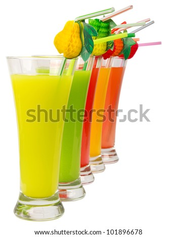 A Row of colorful juices - stock photo