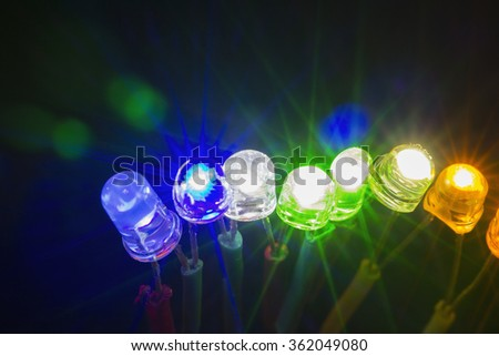 A row of colorful shining led lights