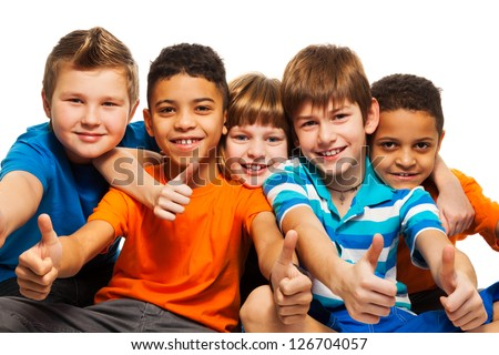 A row of five happy diversity kids boys and girls isolated on white