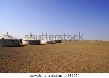 A row of gers in the Gobi Desert, Mongolia