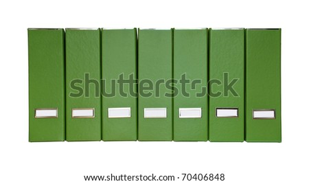 A row of green magazine files - stock photo