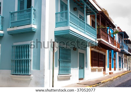 A row of homes in Old San Juan, Puerto Rico - stock photo