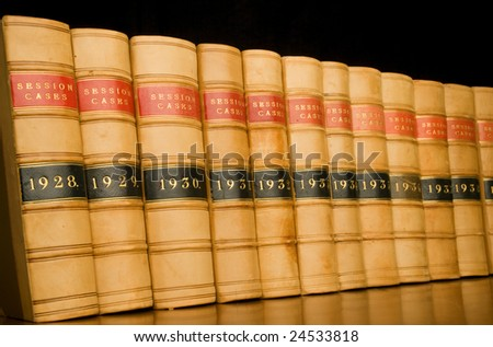 A row of legal case reports.
