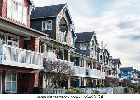 A row of new houses in Richmond, British Columbia - stock photo