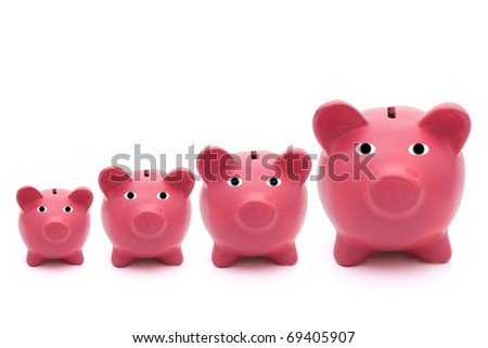 A row of pink piggy banks on a white background, savings