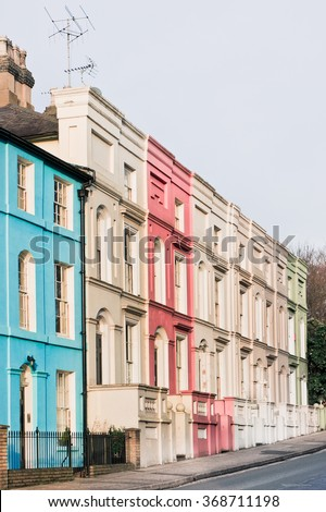 A row of tall town houses in Ipswich, UK - stock photo