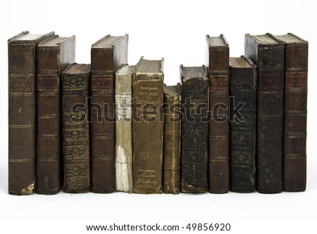A row of 18th Century travel books by various authors - stock photo
