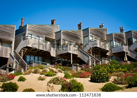 A row of townhouses in Monterey, California. - stock photo