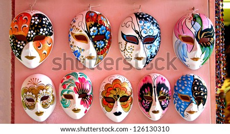 A row of Venice mask at the shop - stock photo