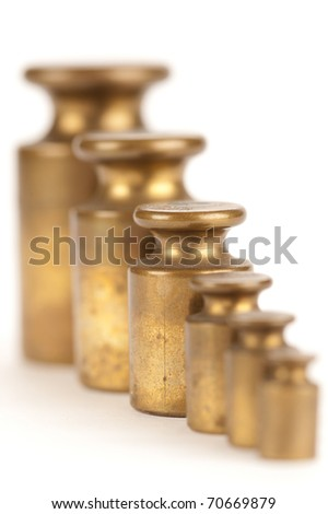 A row of weights - stock photo