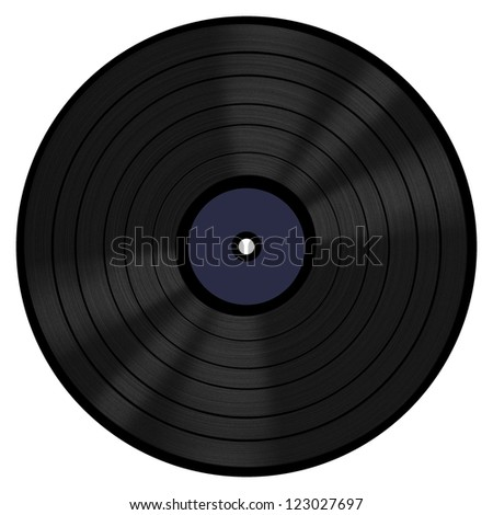 A 33 RPM vinyl LP record with a blank label