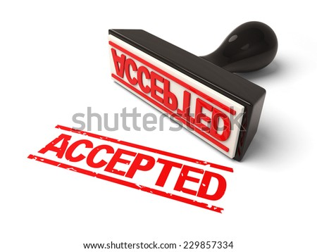 A rubber stamp accepted in red ink. 3d image. Isolated white background.