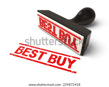 A rubber stamp with best buy in red ink.3d image. Isolated white background.