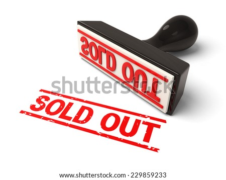 A rubber stamp with sold in red ink.3d image. Isolated white background.