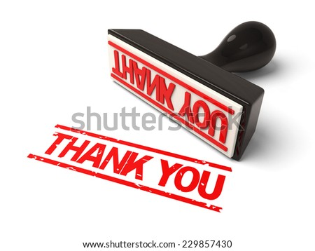 A rubber stamp with  Thank you in red ink.3d image. Isolated white background.