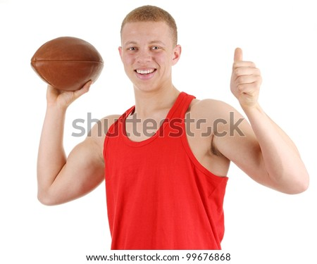 A rugby player holding a ball, isolated on white - stock photo