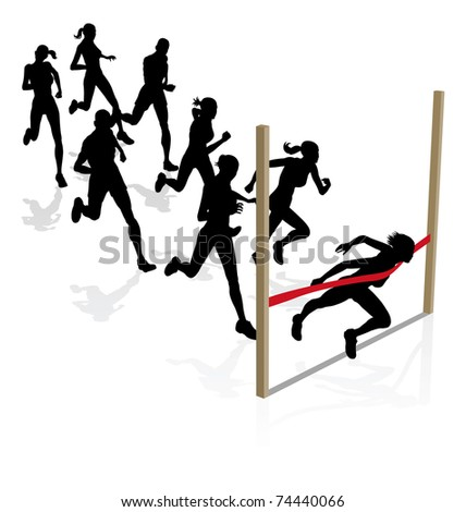 A runner wins the race breaking through the finishing tape - stock photo