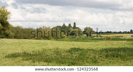 A rural Englsih countryside setting, on the outskirts of Cambridge, England. - stock photo