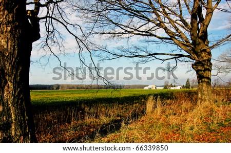 a rural scene in the southwestern Ontario - stock photo