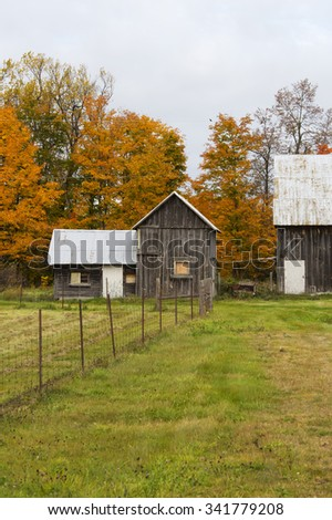 A rural scene of wooden barn and out building with metal roofs. - stock photo