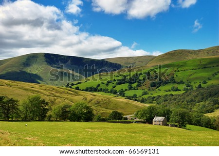 A rural view of the Southern Howgill Fells in the Yorkshire Dales National Park, England - stock photo