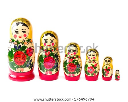 A russian matryoshka doll on a white background