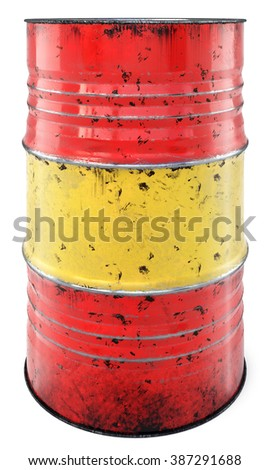 A rusted oil barrel isolated on a white background - stock photo