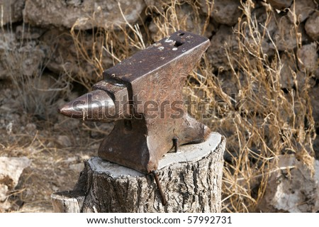 A rusted old iron anvil on a farm in South Africa