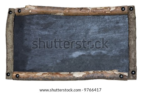 A rustic blank blackboard isolated on white
