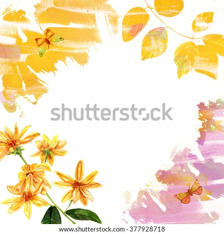 A rustic greeting card template with watercolor textures and drawings of flowers, leaves and butterflies, golden and purple on white background - stock photo