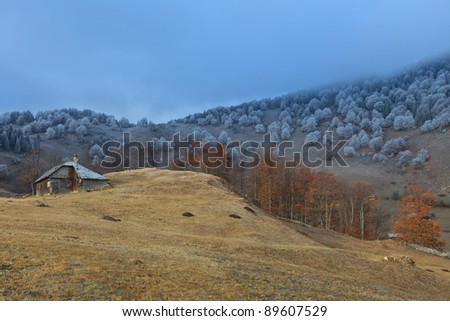 a rustic house in the autumn landscape